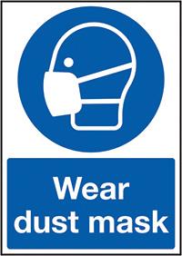 Wear Dust Mask 210x148mm 1.2mm Rigid Plastic Safety Sign