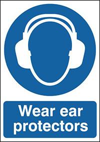 Wear Ear Protectors  210x148mm 1.2mm Rigid Plastic Safety Sign