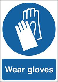 Wear Gloves 210x148mm 1.2mm Rigid Plastic Safety Sign