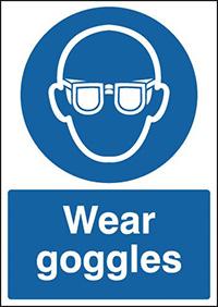 Wear Goggles  210x148mm 1.2mm Rigid Plastic Safety Sign