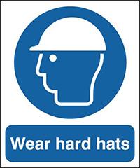 Wear Hard Hats 210x148mm 1.2mm Rigid Plastic Safety Sign