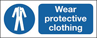 Wear Protective Clothing 210x148mm 1.2mm Rigid Plastic Safety Sign