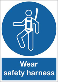 Wear Safety Harness 210x148mm 1.2mm Rigid Plastic Safety Sign