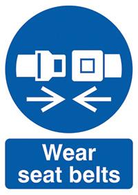 Wear Seat  Belts 210x148mm 1.2mm Rigid Plastic Safety Sign
