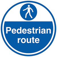 Pedestrian route  450mm Self Adhesive Vinyl Safety Sign