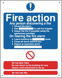 Fire Action  250x200mm 0.9mm Aluminium Safety Sign