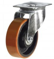 MD Top Plate Swivel Castor - 75mm - Polyurethane Tyre  Cast Iron Wheel