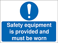 300x400mm Safety equipment is provided Construction Sign - Rigid