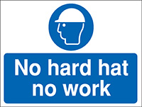 Thumbnail 450x600mm No hard hat no work Construction Sign - Rigid