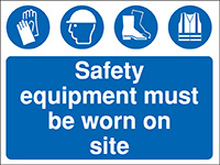 Thumbnail 450x600mm Safety equipment must be worn on site Construction Sign - Rigid