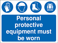 Thumbnail 300x400mm Personal protective equipment must be worn Construction Sign - Rigid