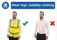 420 x 594mm Wear high visibility clothing - Self Adhesive