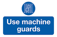 Use Machine Guards  87x135mm Self Adhesive Vinyl Safety Sign Pack of 6