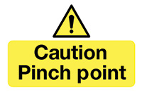Caution Pinch Point  58x90mm Self Adhesive Vinyl Safety Sign Pack of 6