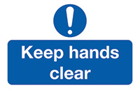 Keep Hands Clear  58x90mm Self Adhesive Vinyl Safety Sign Pack of 6