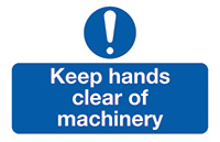 Keep Hands Clear of Machinery  58x90mm Self Adhesive Vinyl Safety Sign Pack of 6