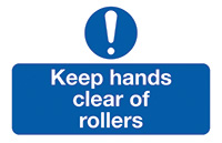 Thumbnail Keep Hands Clear of Rollers  58x90mm Self Adhesive Vinyl Safety Sign Pack of 6
