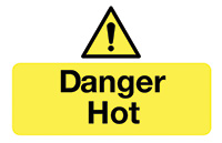 Thumbnail Danger Hot  87x135mm Self Adhesive Vinyl Safety Sign Pack of 6