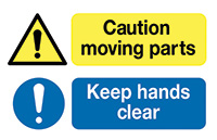 Caution Moving Parts Keep Hands Clear  58x90mm Self Adhesive Vinyl Safety Sign Pack of 6
