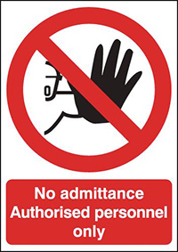 No Admittance Authorised Personnel Only  350x250mm 2mm Polycarbonate Safety Sign