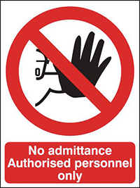 No admittance Authorised personnel only  400x300mm 3mm Aluminium Safety Sign