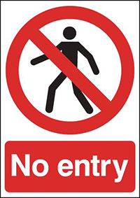 No Entry  210x148mm 1.2mm Rigid Plastic Safety Sign