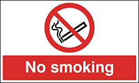 No Smoking  100x250mm 1.2mm Rigid Plastic Safety Sign