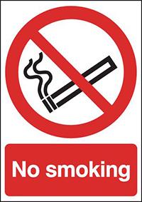 No Smoking  210x148mm 1.2mm Rigid Plastic Safety Sign
