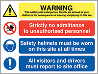 600x800mm Warning this building site is dangerous parents are advised - Rigid