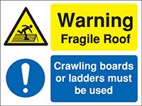 300x400mm Warning Fragile Roof Crawling boards Site Safety Board - Rigid