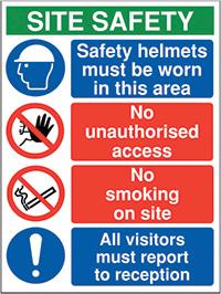 800x600mm Site safety - No Hats No Boots No Job - Rigid