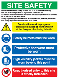 800x600mm Under the health and safety work act Site Safety Board - Rigid