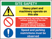 600x800mm Site safety heavy plant and machinery operate on this site - Rigid