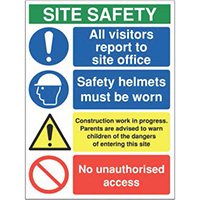 800x600mm Site safety all visitors report to site office - Rigid