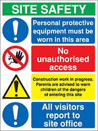 800x600mm PPE must be worn in this area Site Safety Board - Rigid