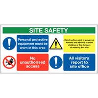 610x1220mm Site Safety PPE  No unauthroised - Banner Sign 500gsm