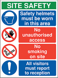 800x600mm Site Safety Safety Helmets must be worn in this area - Rigid