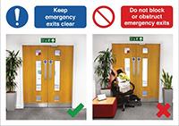 420 x 594mm Keep emergency exits clear / Do not block or obstruct emergency exits - Rigid