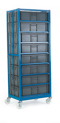 Mobile Container Rack C/W 8 Containers