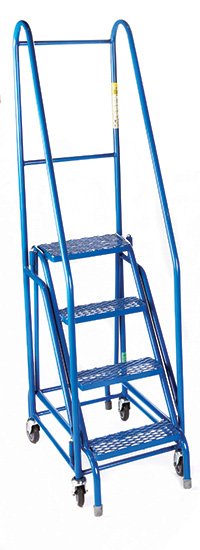 Fort  Duplex  Weight Reactive Mobile Steps -  4 Step - Blue/Blue - Expanded Steel Treads