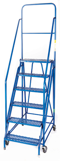Fort  Duplex  Weight Reactive Mobile Steps -  6 Step - Blue/Blue - Expanded Steel Treads