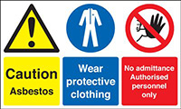 Caution Asbestos Wear Protective Clothing No Admittance Authorised 300x500mm 1.2mm Rigid Plastic Safety Sign