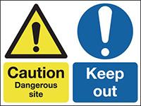Caution Dangerous Site Keep Out 450x600mm 1.2mm Rigid Plastic Safety Sign