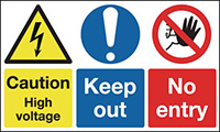 Caution High Voltage Keep Out 300x500mm 1.2mm Rigid Plastic Safety Sign