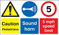 Caution Pedestrians Sound Horn 5mph Speed Limit 300x500mm 1.2mm Rigid Plastic Safety Sign