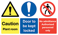 Caution Plant Room Door To Be Kept Locked No Admittance Authorised 100x300mm 1.2mm Rigid Plastic Safety Sign