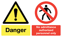 Danger No Admittance Authorised Personnel Only  300x500mm 1.2mm Rigid Plastic Safety Sign