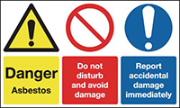 Danger Asbestos Do Not Disturb and Avoid Damage Report Accidental Damage 300x500mm 1.2mm Rigid Plastic Safety Sign