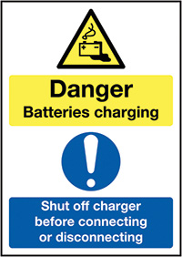 Danger Batteries Charging Shut Off Charger Before Connecting or Disconnecting 297x210mm 1.2mm Rigid Plastic Safety Sign