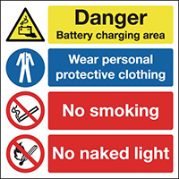 Danger Battery Charging Area Wear Personal Protective Clothing No Smoking No Naked Light 300x300mm 1.2mm Rigid Plastic Safety Sign